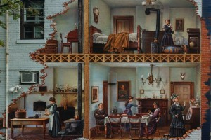 mural that appears to cutaway into the building to show various people in victorian dress around the house