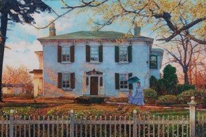 mural of a girl playing in the yard in front of a large white house