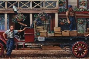 mural of 3 men in overalls standing around an old truck