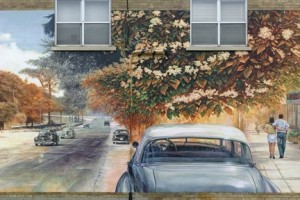 painted mural on wall of old vintage cars driving on the left and modern people shopping on the right