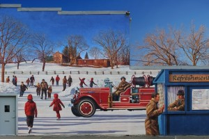 mural of a skating rink with a refreshment stand