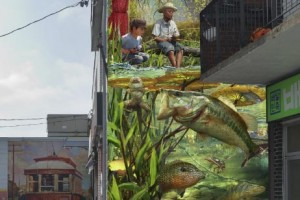 realistic mural of children fishing with large bass fish under the water