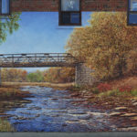 long landscape mural depicting two people painting the river scene in front of them on the left and a father and two sons fishing in the river on the right