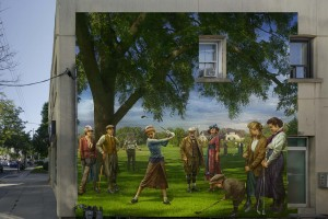 mural of men and women in old-fashioned dress playing golf