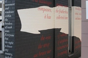 black mural with text