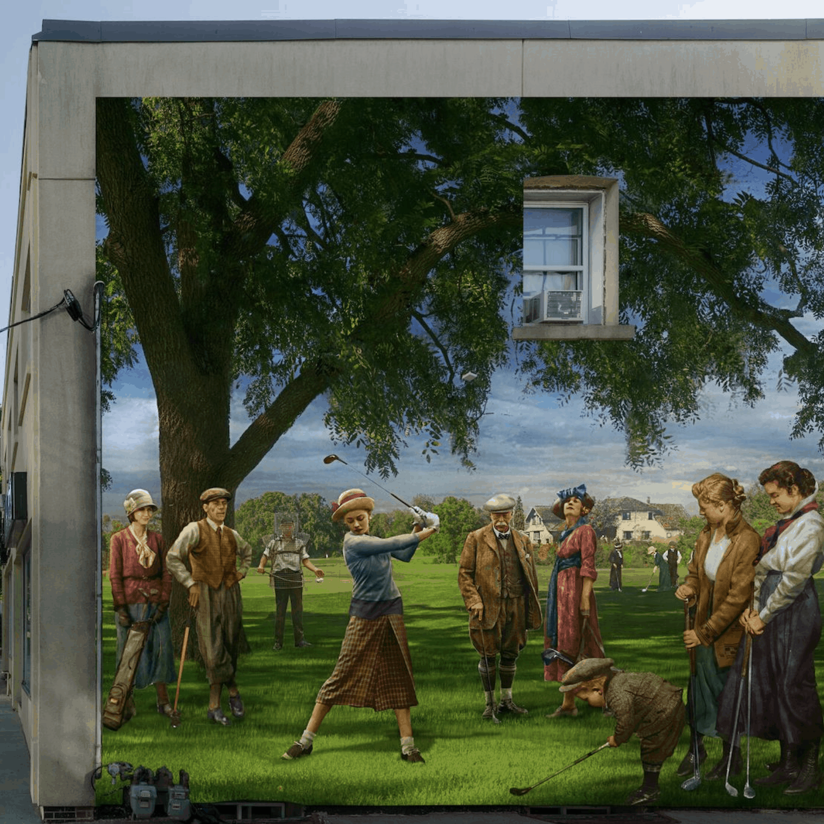 mural of people golfing