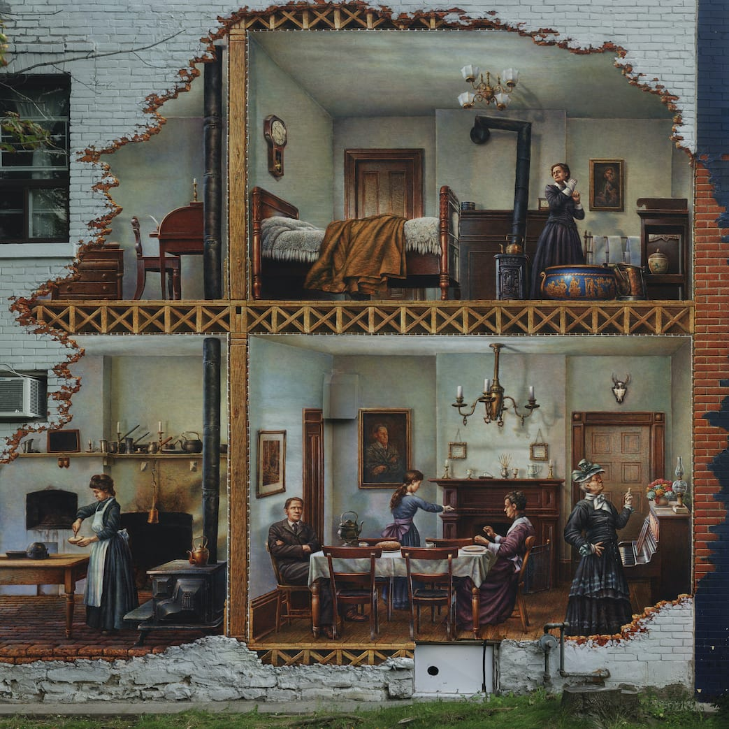 mural that appears to cut through the wall to depict people in victorian dress doing various household activities